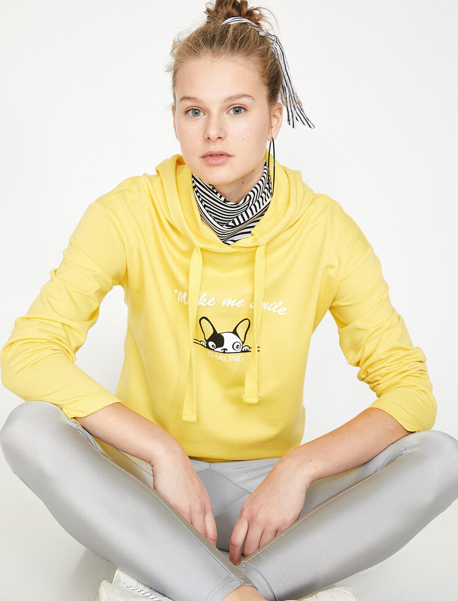 Koton Kadın Baskili Sweatshirt Sarı Ürün Resmi