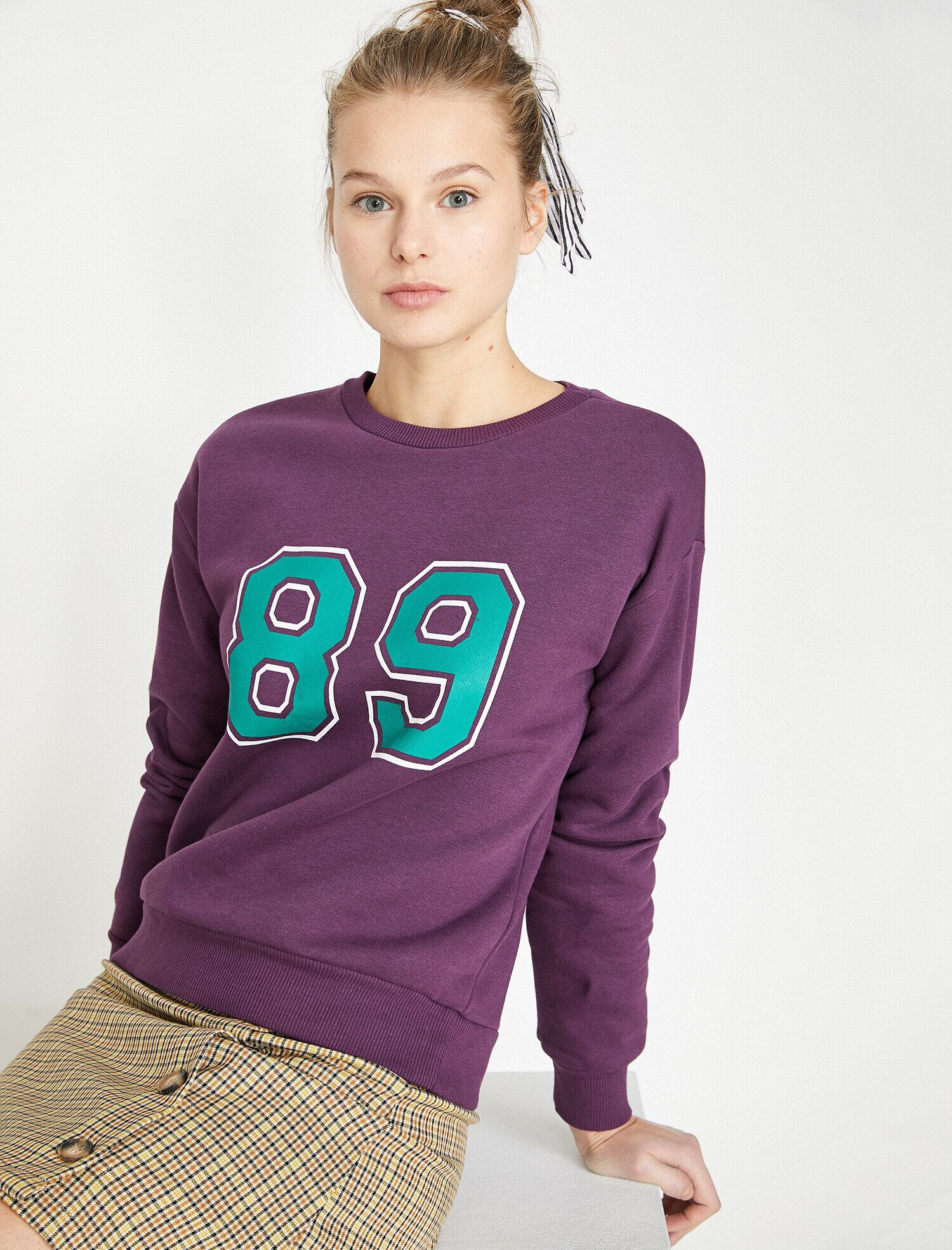 Koton Kadın Baskili Sweatshirt Mor Ürün Resmi