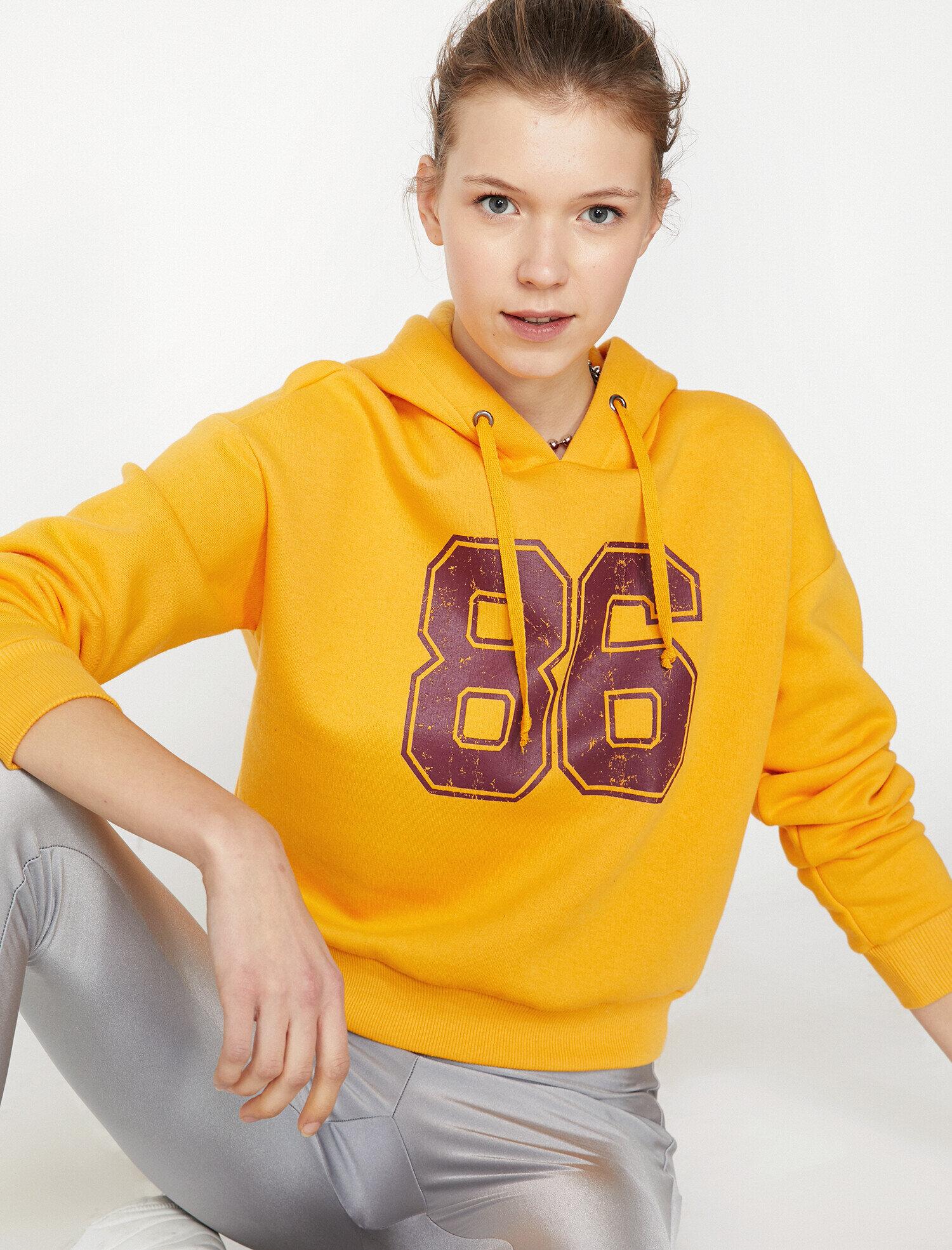 Koton Kadın Kapüsonlu Sweatshirt Sarı Ürün Resmi