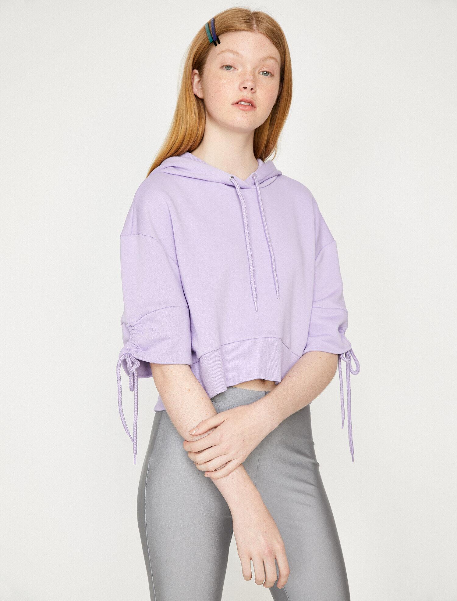 Koton Kadın Kapüsonlu Sweatshirt Mor Ürün Resmi