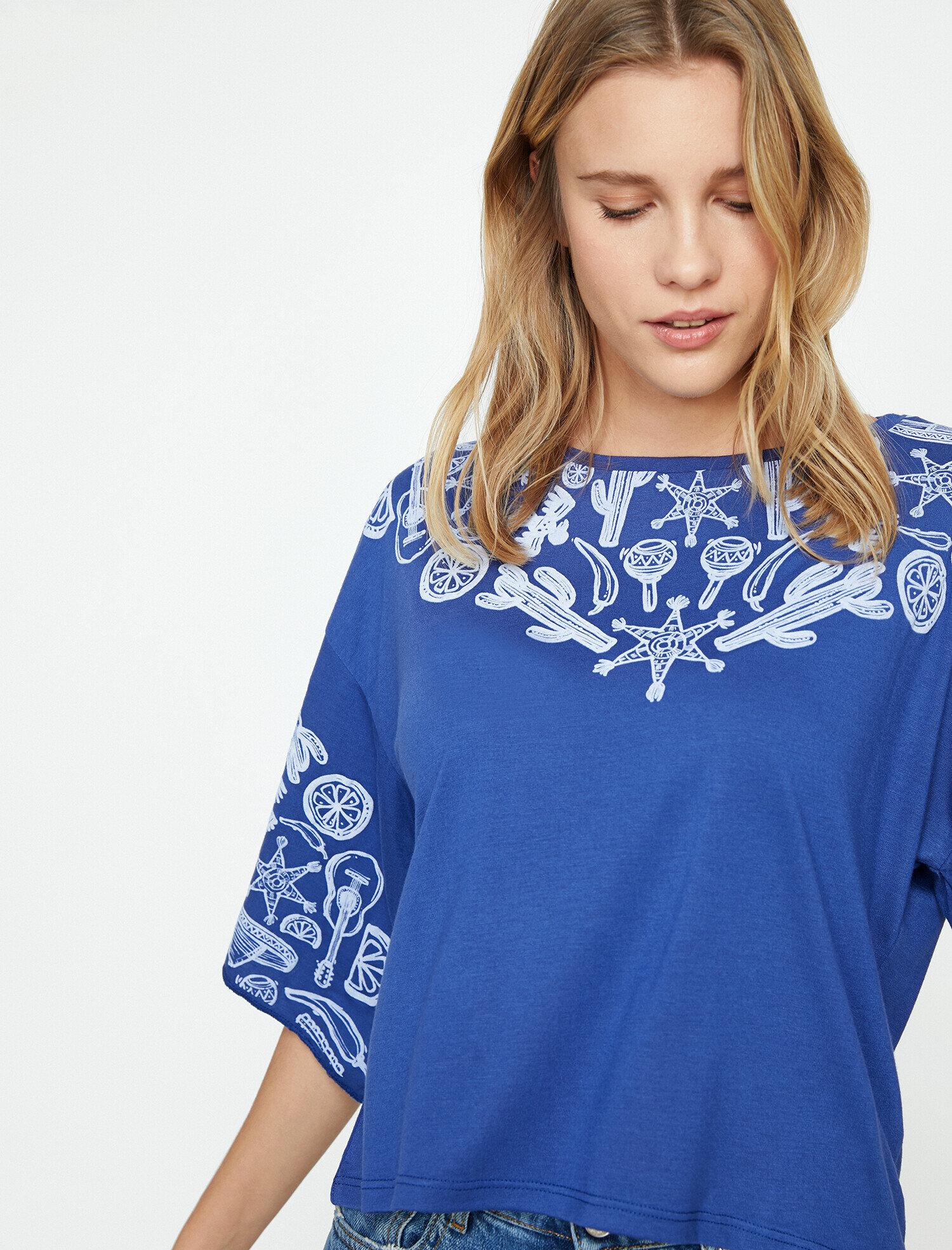 Koton Kadın Baskili T-Shirt Lacivert Ürün Resmi