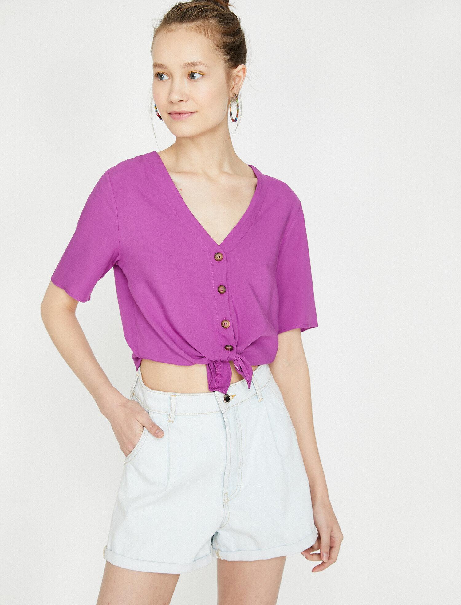 Koton Kadın Dügme Detayli Bluz