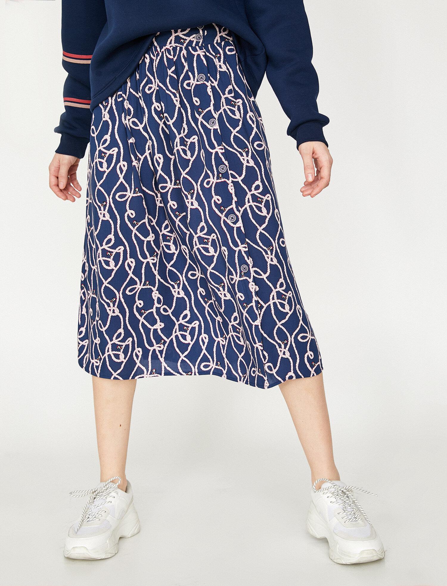Koton Kadın Desenli Etek Lacivert Ürün Resmi