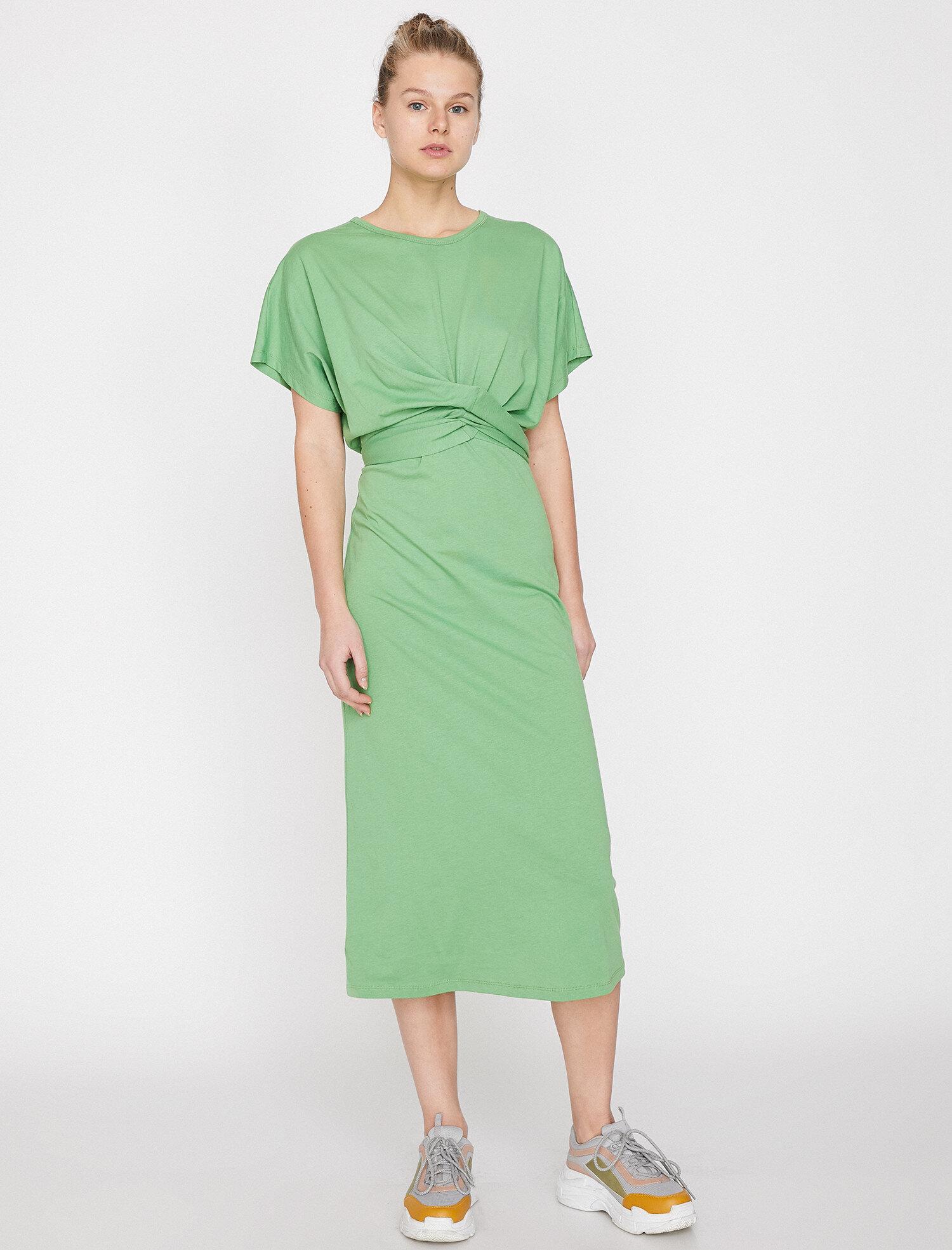 Koton Kadın Büzgülü Elbise Yeşil Ürün Resmi