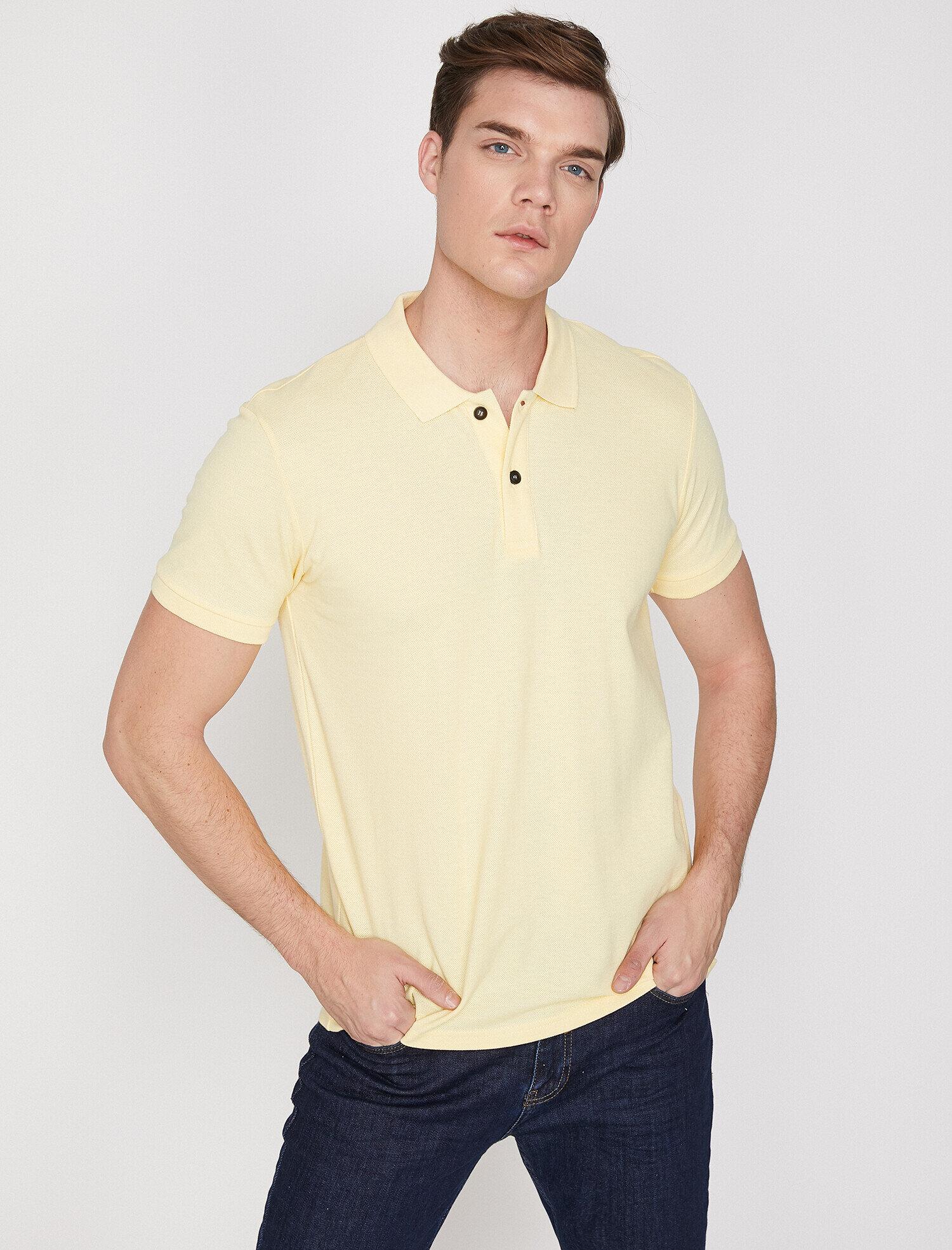 Koton Erkek Polo Yaka T-Shirt Sarı Ürün Resmi