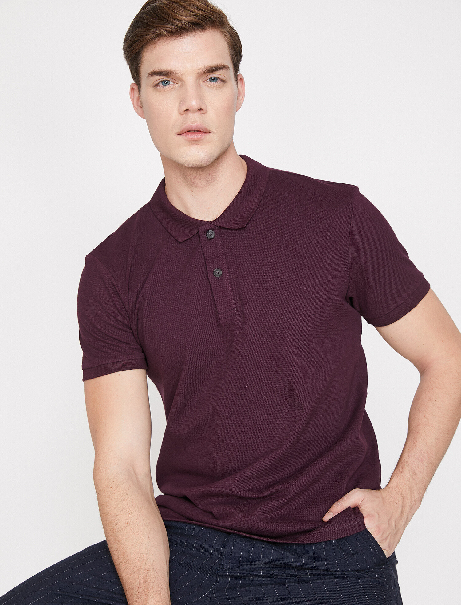 Koton Erkek Polo Yaka T-Shirt Mor Ürün Resmi