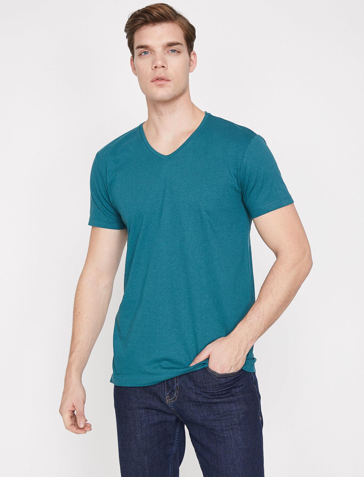 Koton Erkek V Yaka T-Shirt Yeşil Ürün Resmi