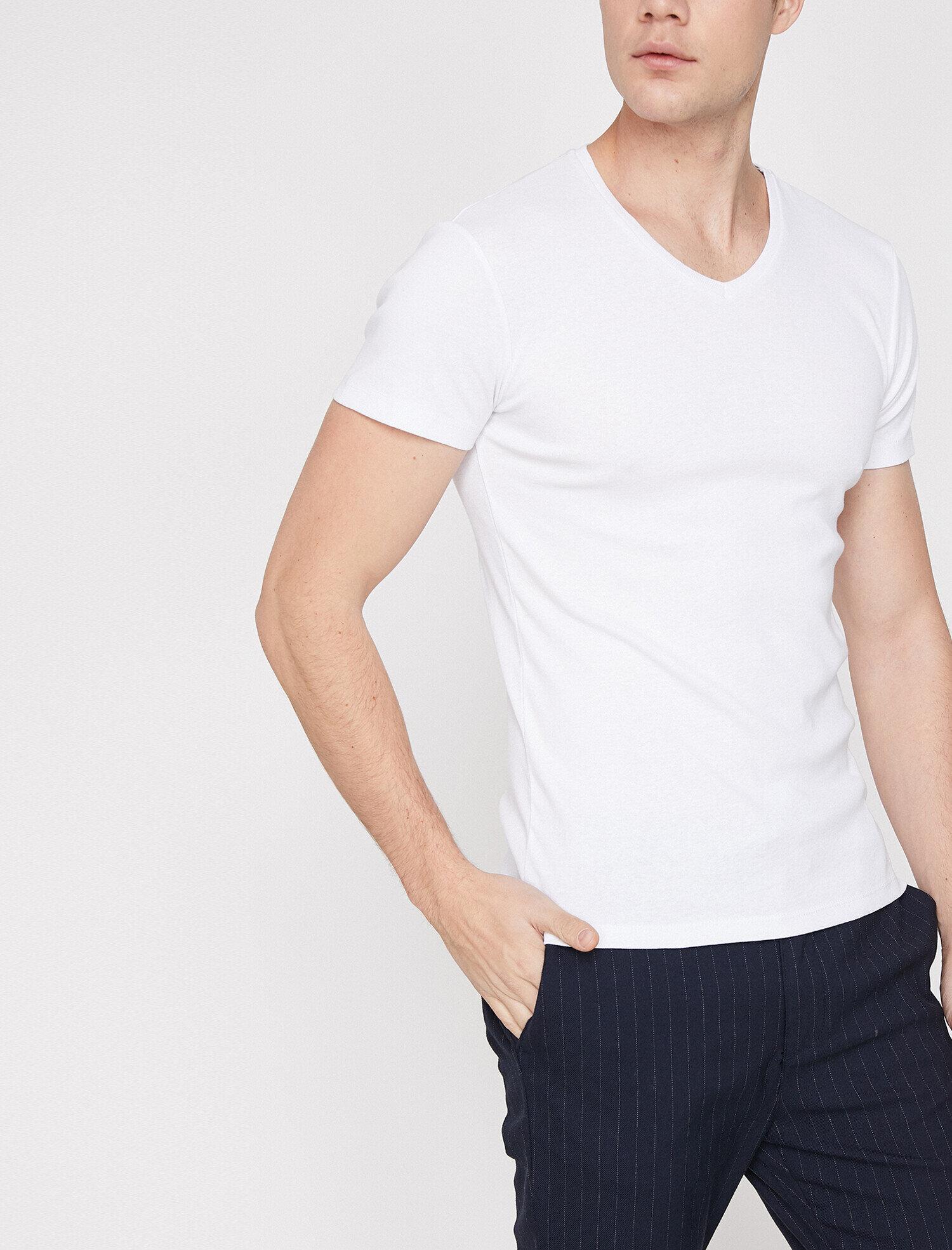 Koton Erkek V Yaka T-Shirt Beyaz Ürün Resmi