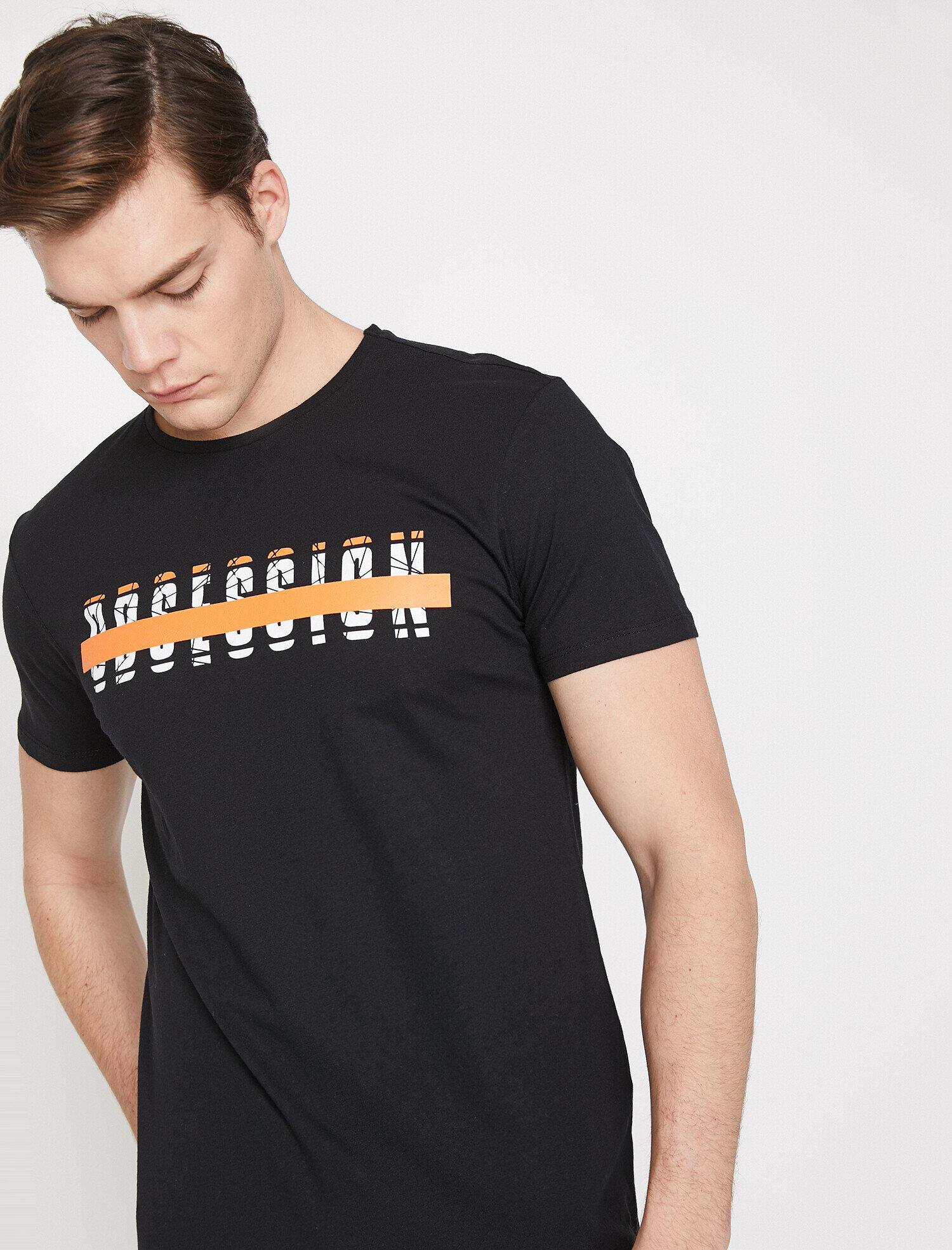 Koton Erkek Yazili Baskili T-Shirt Siyah Ürün Resmi