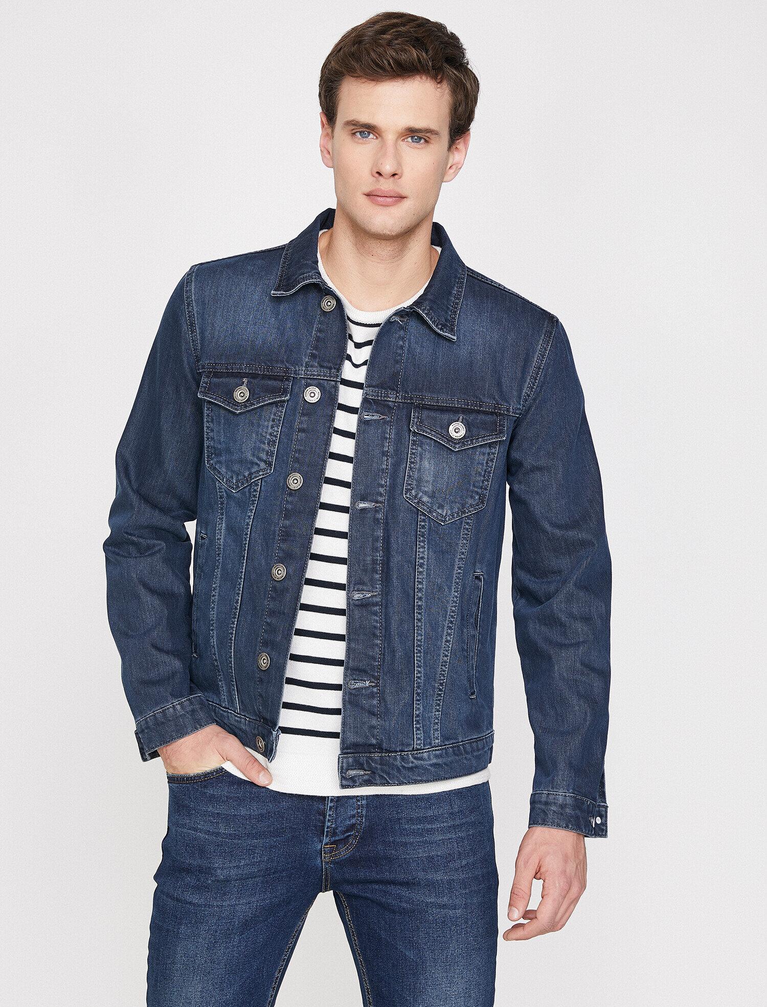 Koton Erkek Klasik Yaka Jean Ceket Mavi Ürün Resmi
