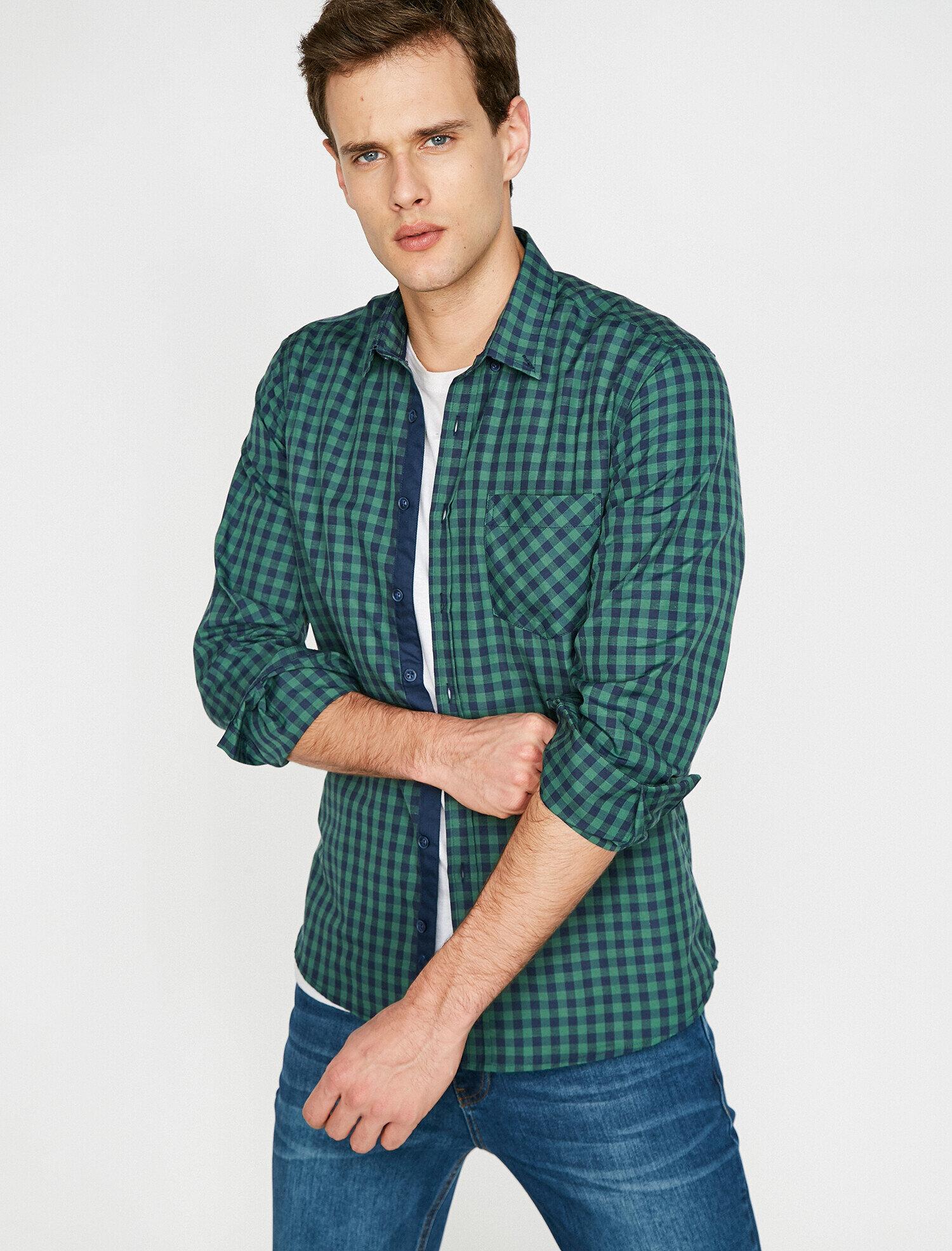 Koton Erkek Kareli Gömlek Yeşil Ürün Resmi