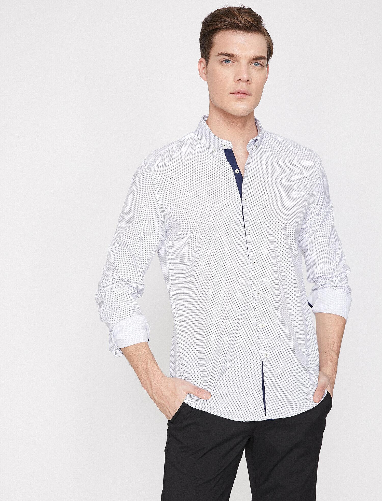 Koton Erkek Desenli Gömlek Beyaz Ürün Resmi