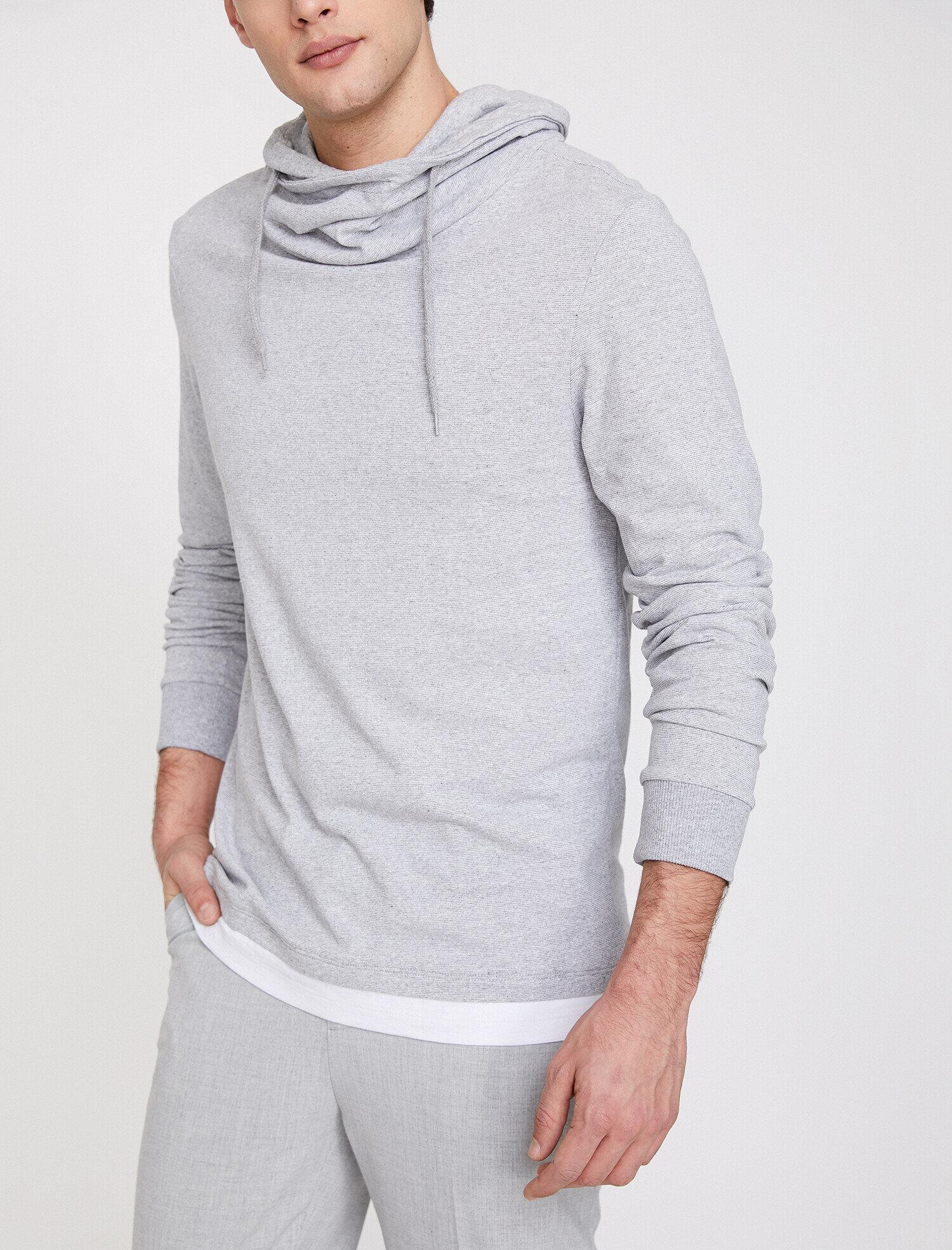Koton Erkek Kapüsonlu Sweatshirt Gri Ürün Resmi