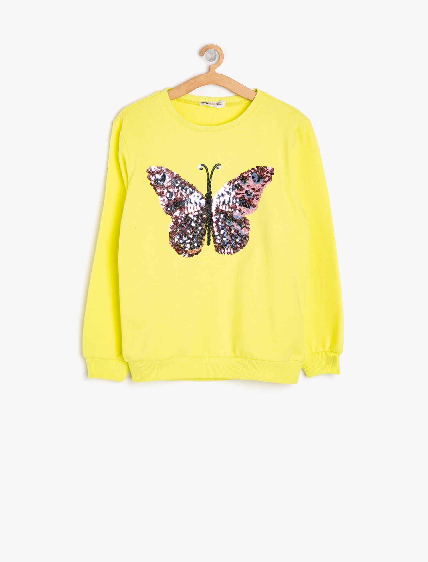 Koton Kız Çocuk Pul Detayli Sweatshirt Sarı Ürün Resmi