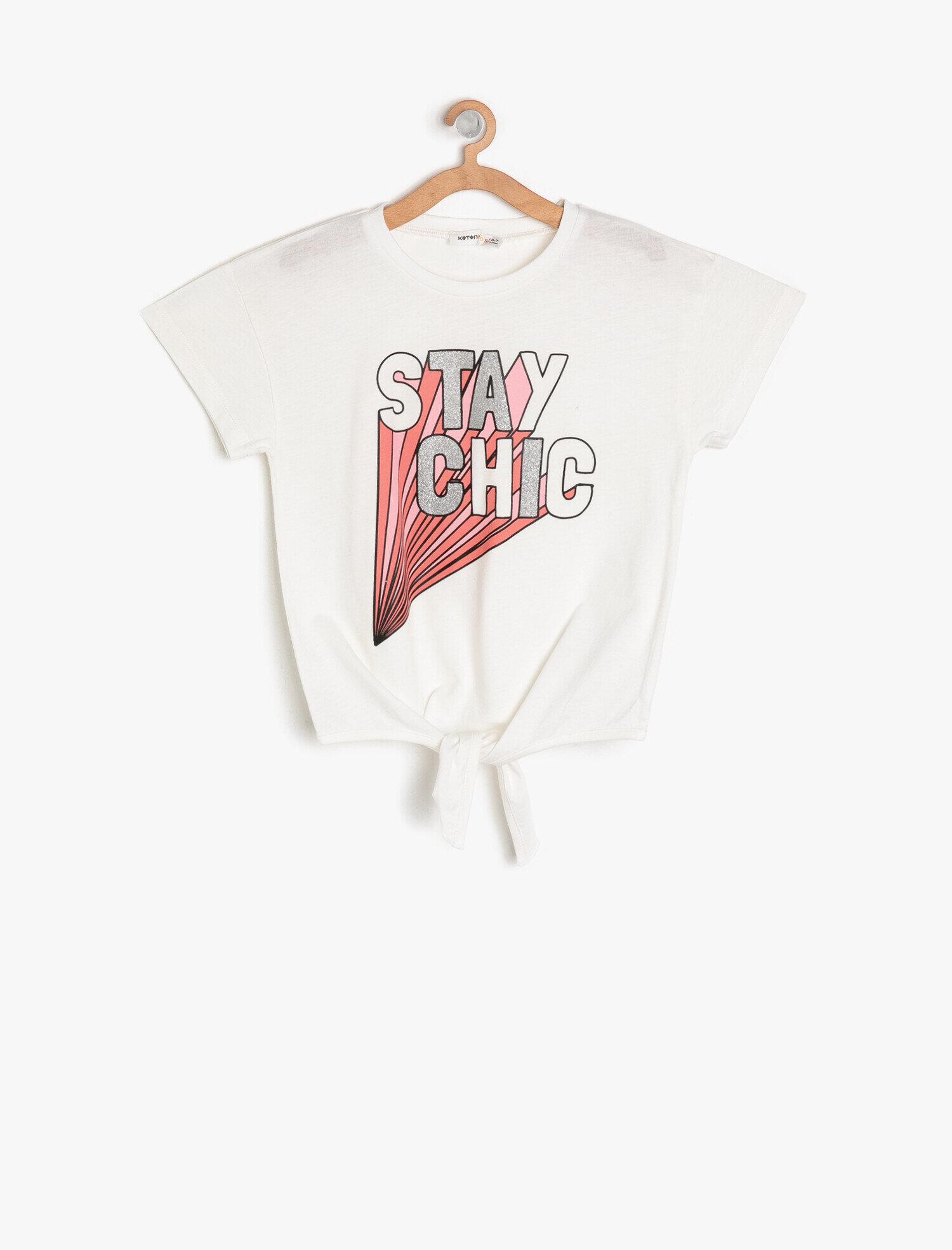 Koton Kız Çocuk Yazili Baskili T-Shirt Ekru Ürün Resmi