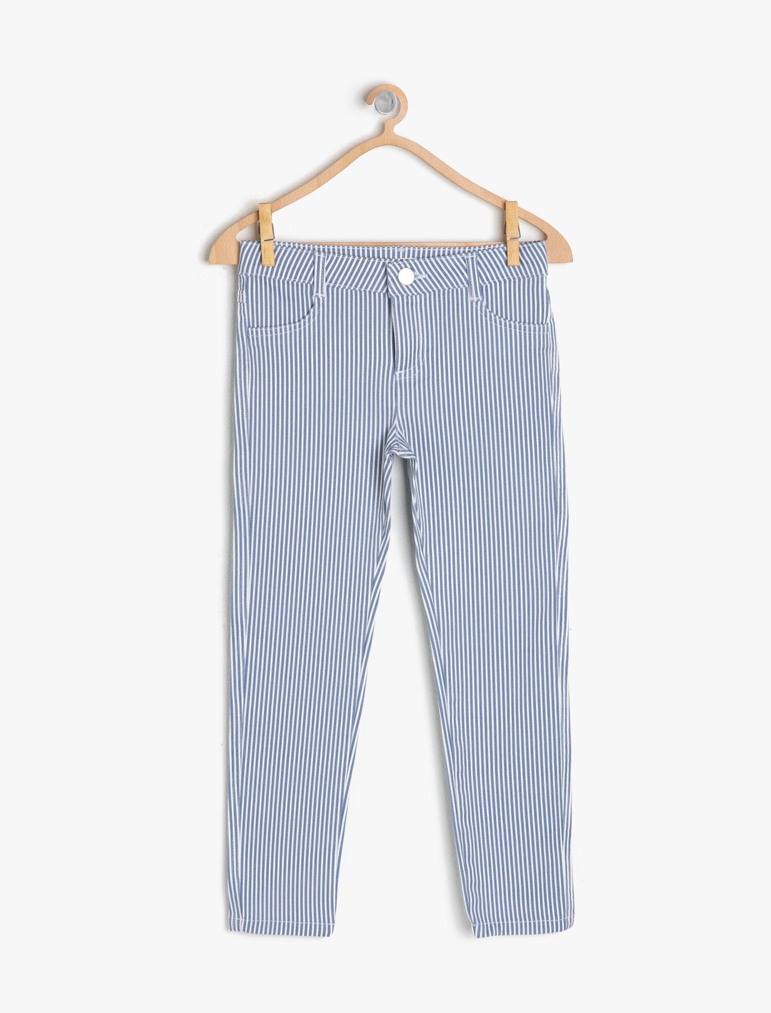 Koton Kız Çocuk Çizgili Pantolon Mavi Ürün Resmi