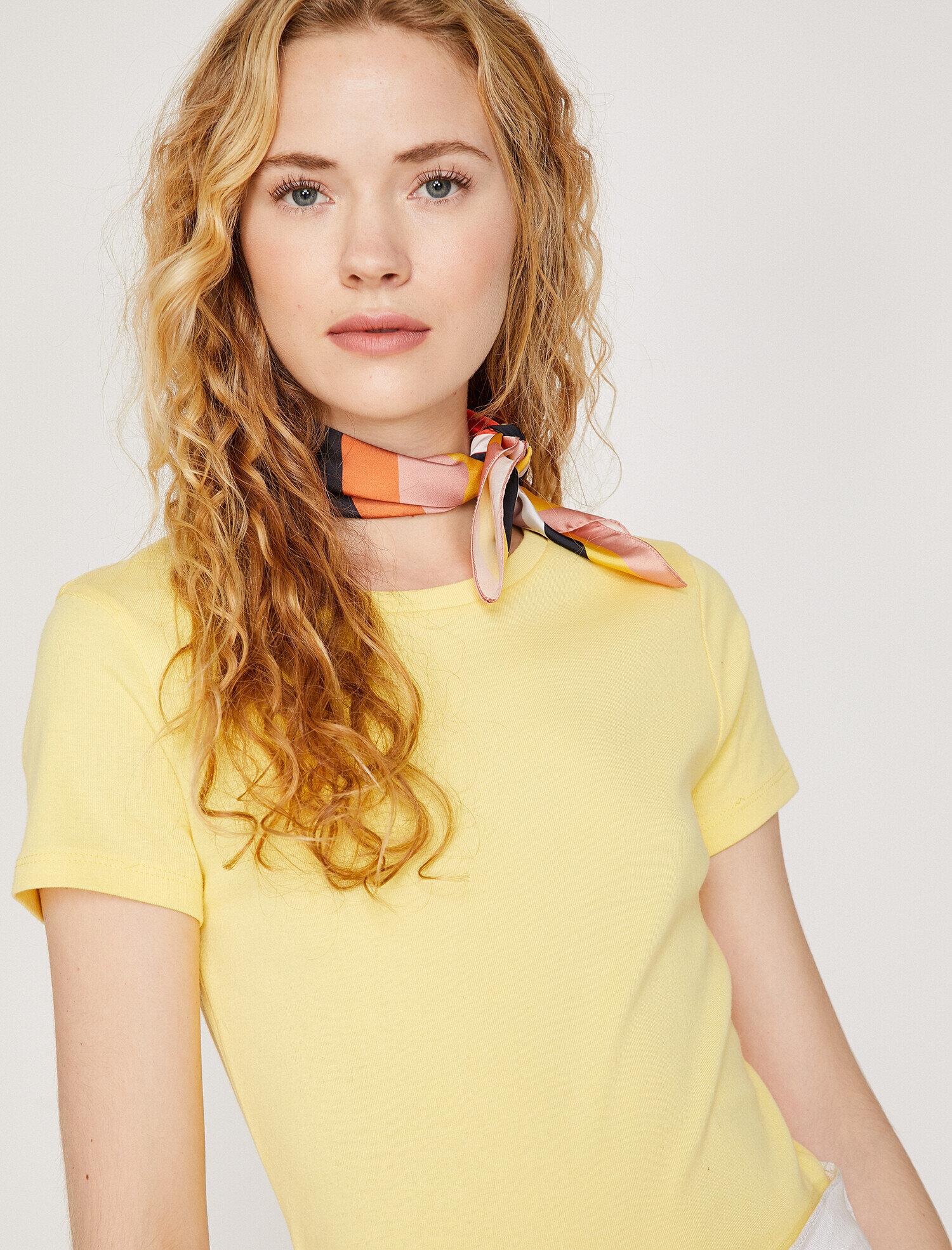 Koton Kadın Bisiklet Yaka T-Shirt Sarı Ürün Resmi
